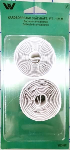 Bilde av Borrelås - med lim - 20 mm, hvit