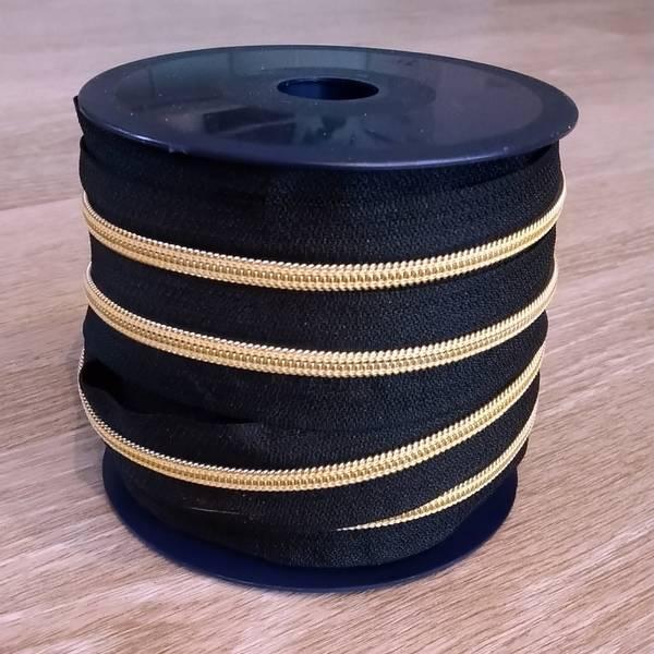 Bilde av Spiralglidelås - 6 mm metervare - sort-gull