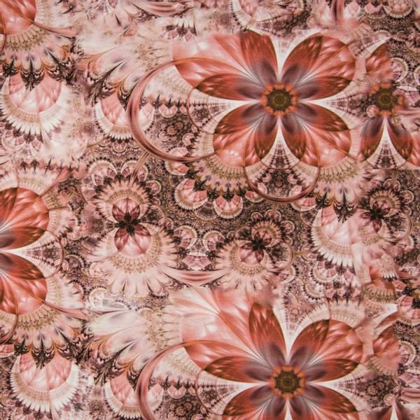 Bilde av Viskosejersey -  ca 14 cm brune blomster