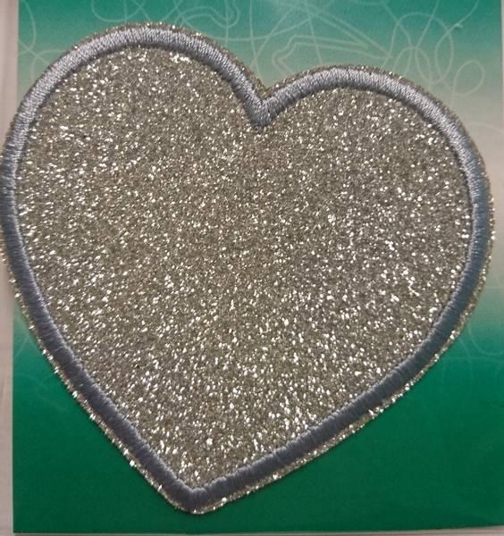 Bilde av Symerke med lim - 7,5 cm hjerte med sølv glitter