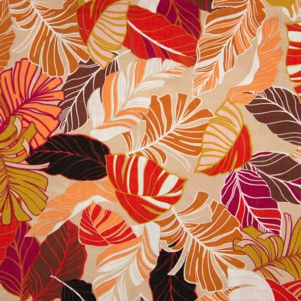 Bilde av Vevd viskose - 6-15 cm blader i jordfarger