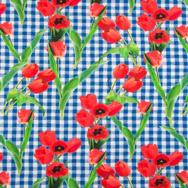 Bilde av Bomullsjersey - 1 cm blå-hvit rutete m tulipaner