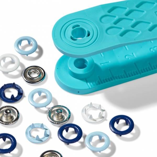 Bilde av Jersey trykknapper 8 mm med innsats - 21 st, blå, lysblå, hvit