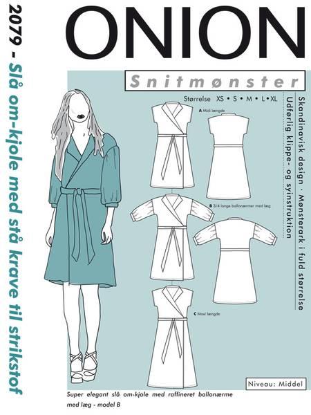 Bilde av Onion 2079 - Slå om-kjole med ståkrave til stretch