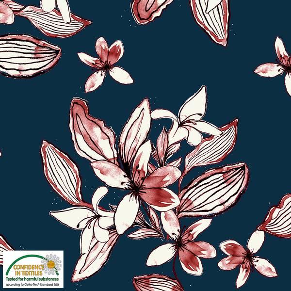 Bilde av Avalana bomullsjersey - 5-15 cm blomster på marine