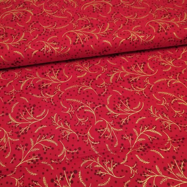 Bilde av Julebomull, 135 cm - gull 2-7 cm ranker på rød