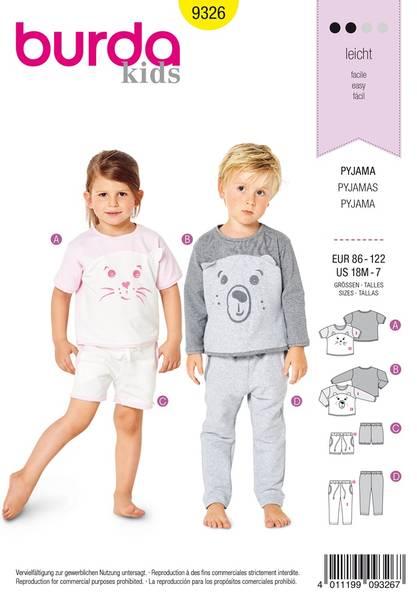 Bilde av 9326 - Burda - pysjamas, t-skjorte, bukse