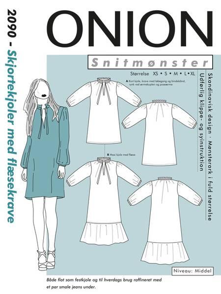 Bilde av Onion 9027 - kjole m rysjekrage & puffermer, pluss-størrelse