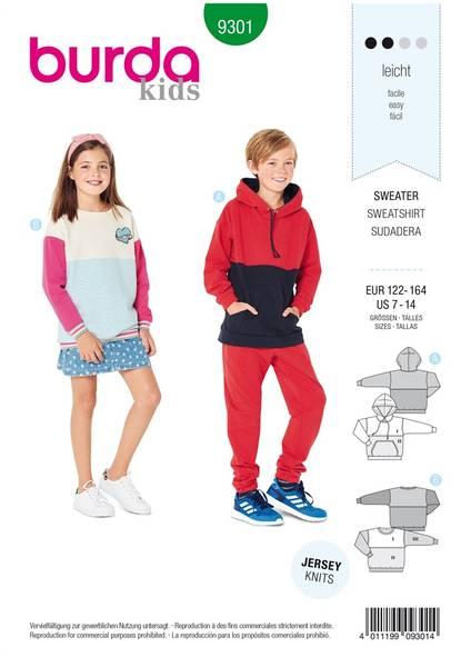 Bilde av 9301 - Burda - sweatshirt/ genser m inndeling