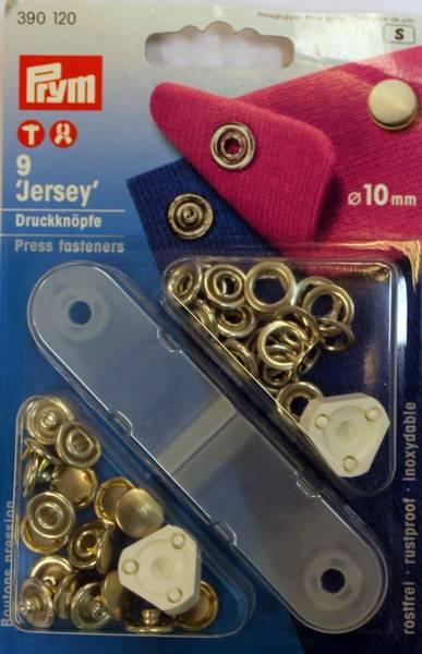 Bilde av Trykknapper - Jersey - med verktøy - 10 mm - sølv kappe, 9 st.