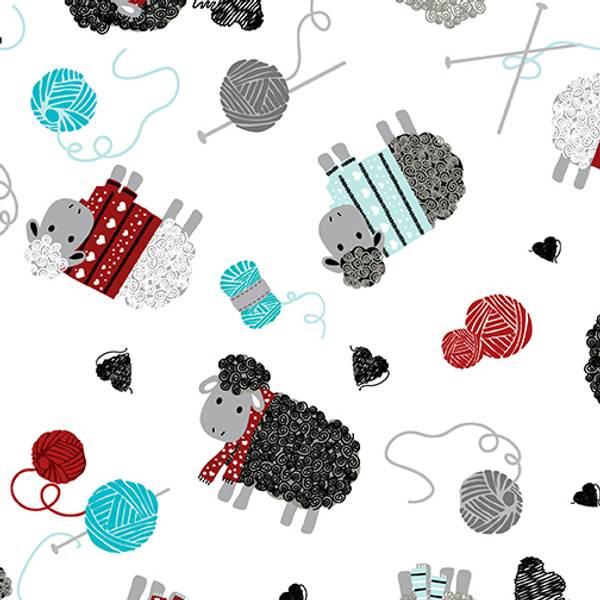 Bilde av 30 cm All you knit is love - 4-5 cm strikk sauer på hvit