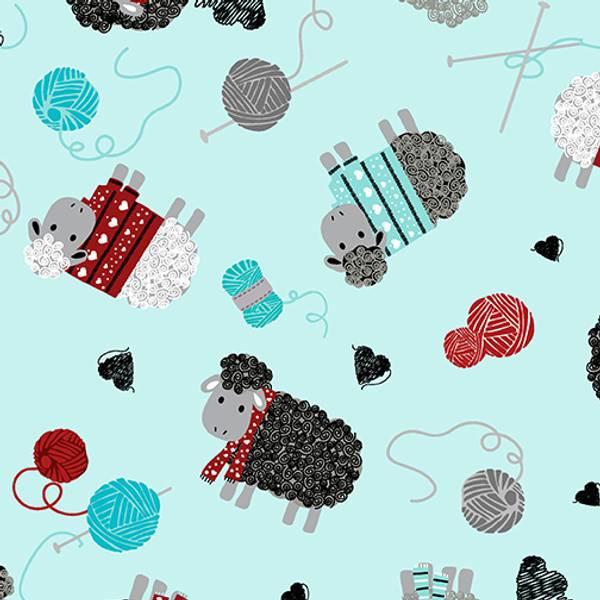 Bilde av All you knit is love - 4-5 cm strikk sauer på lysblå