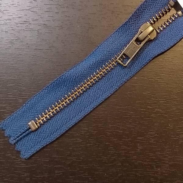 Bilde av Metallglidelås, ikke delbar, 6 mm, blå/antikk messing