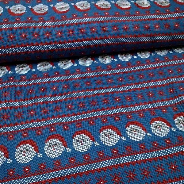 Bilde av Isoli - strikket motiv på blå, 4 cm julenisse
