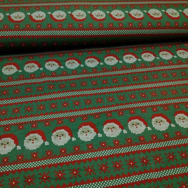 Bilde av 1,7 m Isoli - strikket motiv på grønn, 4 cm julenisse