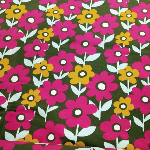Bilde av Bomullsjersey - 3-6 cm blomst, pink-gul på kaki