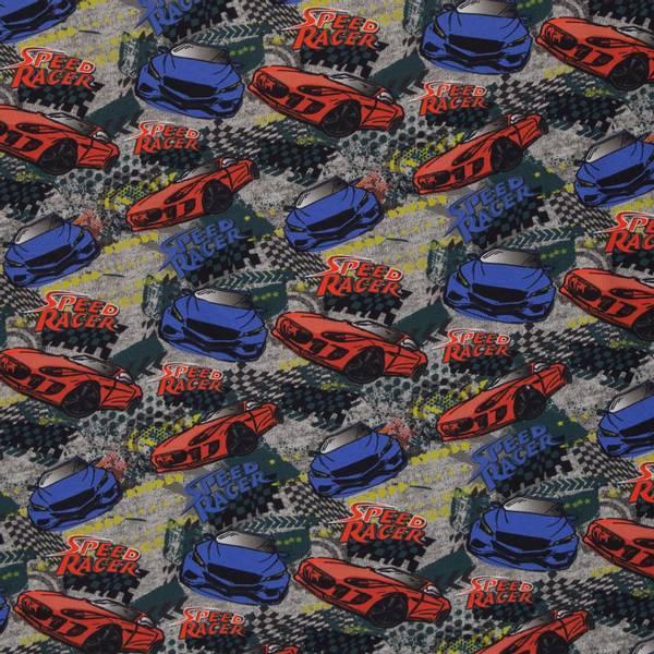 Bilde av French Terry børstet - 9 cm racerbiler på gråmelert