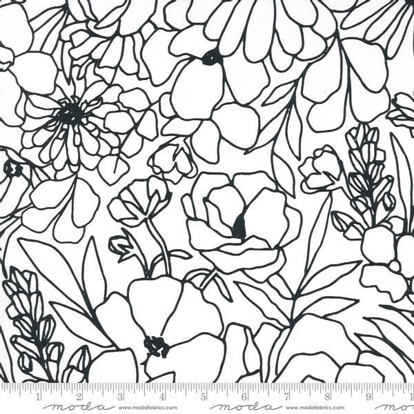 Bilde av Illustrations Kanvas - ca 8 cm blomster, hvit på hvit