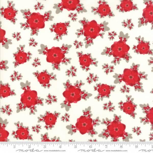 Bilde av Return to Winter's Lane - 2-3 cm røde juleblomster på offwhite