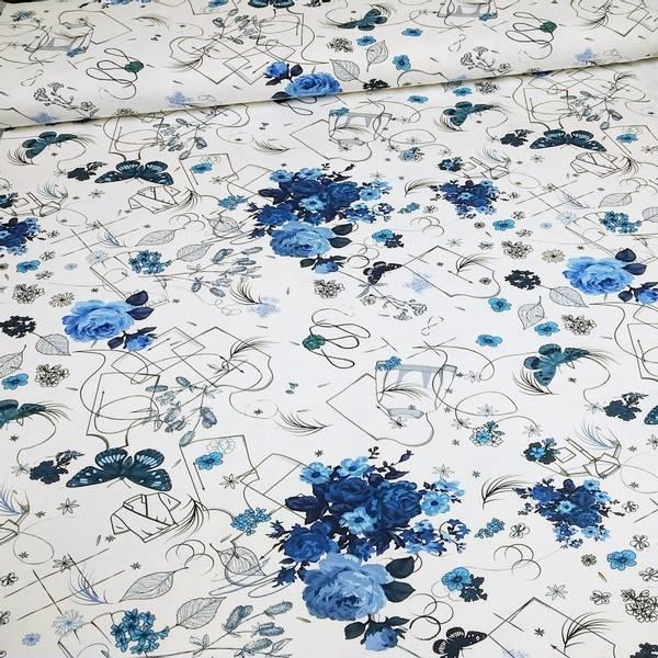 Bilde av Avalana Bomullsjersey - blå blomsterbukett & symotiver