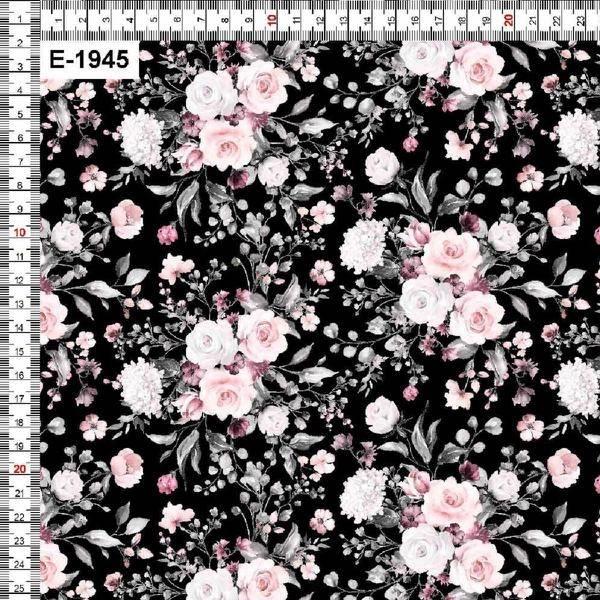 Bilde av Bomullsjersey - 5 cm blomsterbukett på sort