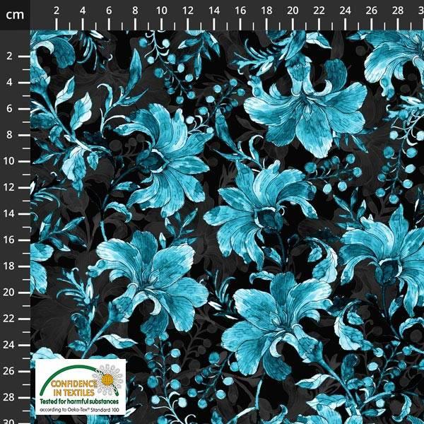 Bilde av Avalana Bomullsjersey - 10 cm blå blomst på sort