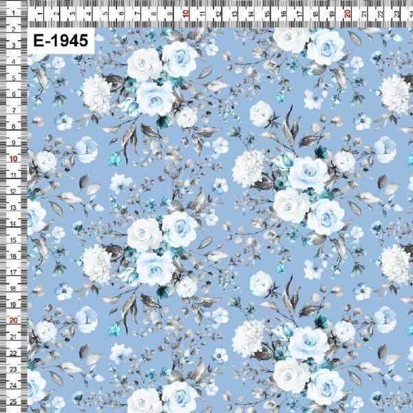 Bilde av Bomullsjersey - 5 cm blomsterbukett på lysblå