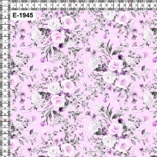 Bilde av Bomullsjersey - 5 cm blomsterbukett på rosa