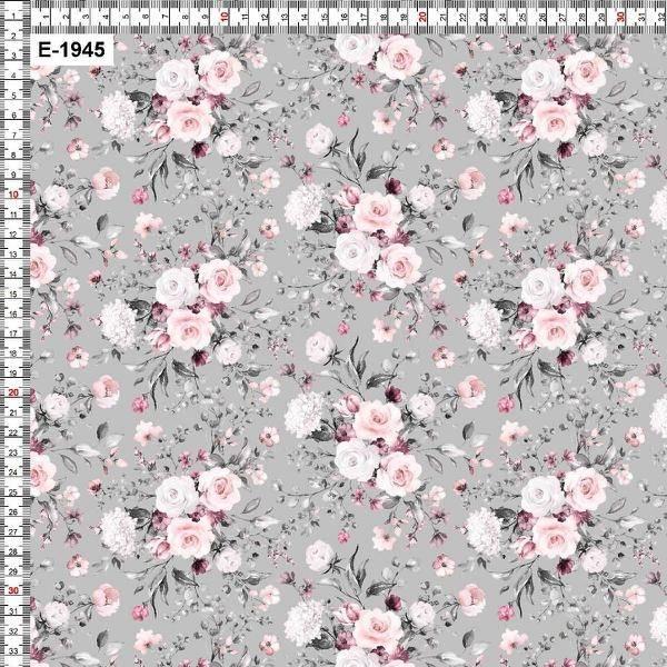 Bilde av Bomullsjersey - 5 cm blomsterbukett på lysgrå