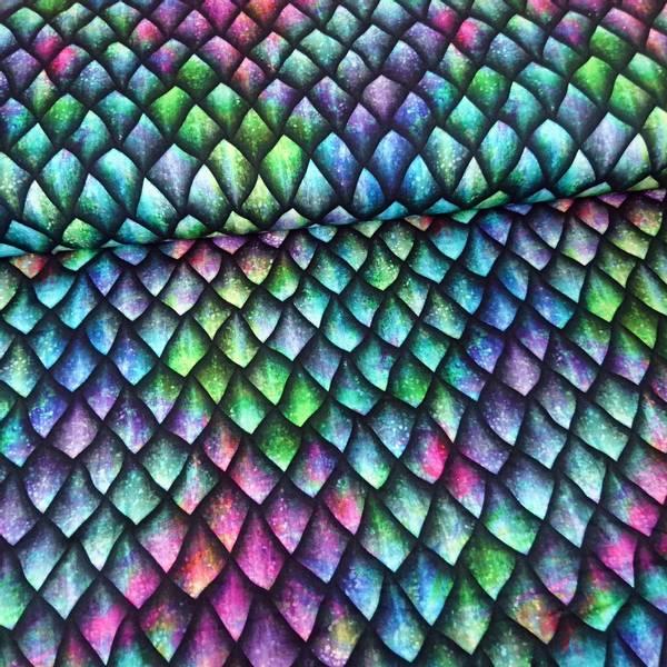 Bilde av Bomullsjersey - 3 cm drageskjell i grønn, blå, lilla