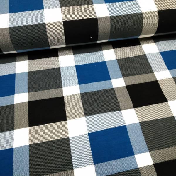 Bilde av Avalana French Terry - 8 cm sort-blå-hvite ruter