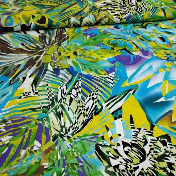 Bilde av Vevd viskose - stormønstret, grønn-turkis-gul