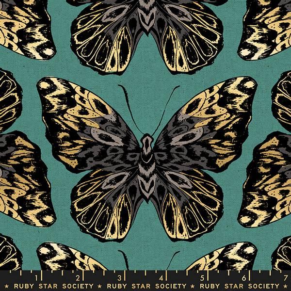 Bilde av Lin kanvas, 14 cm gull-sort-grå sommerfugl på mørk aqua