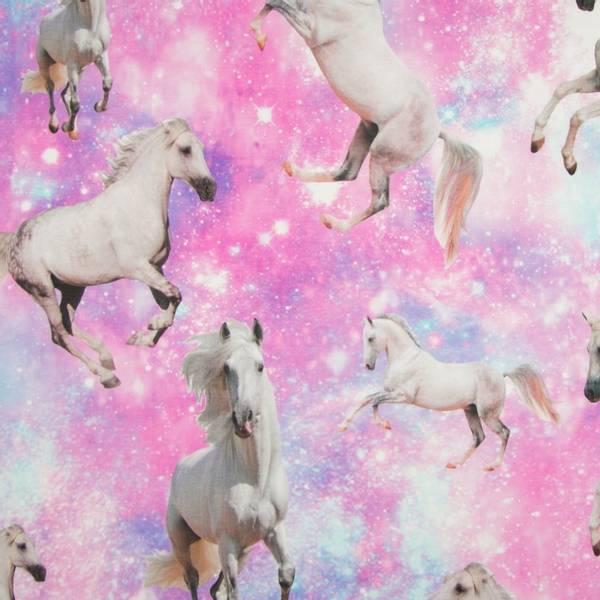 Bilde av Bomullsjersey - 15-25 cm hvite hester på rosa-blå