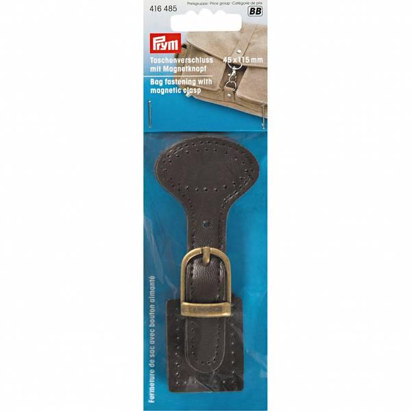 Bilde av Veskelås m magnetknapp Prym, brun lær, 45*115 mm