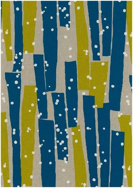 Bilde av Echino - geometrisk mønster på lin - turkis-sennep