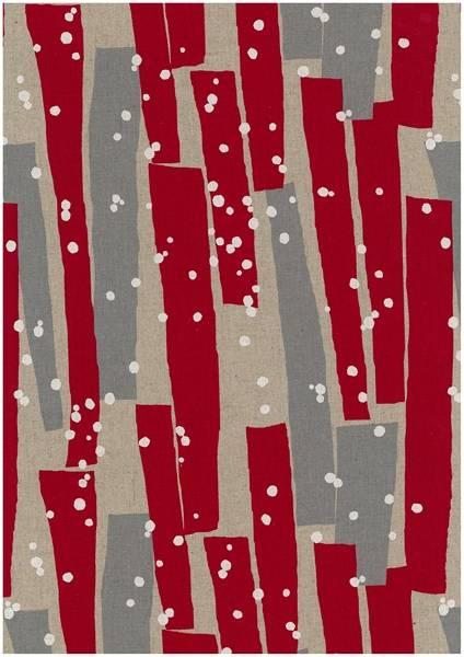 Bilde av Echino - geometrisk mønster på lin - rød-grå