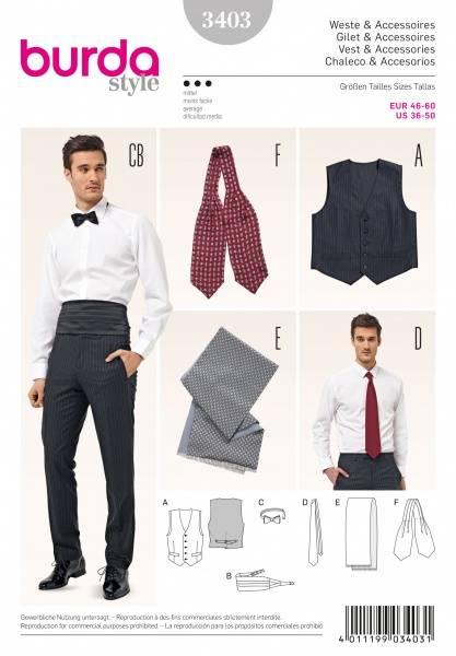 Bilde av 3403 - Burda - vest, slips, sløyfe, skjerf