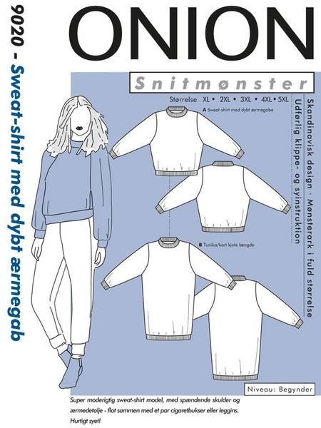 Bilde av Onion 9020 - Sweatshirt/ genser med dyp ermegab - pluss-size