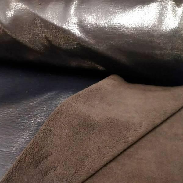 Bilde av Doubleface lakk/teddy - sort metallic mønster, sjokolade teddy