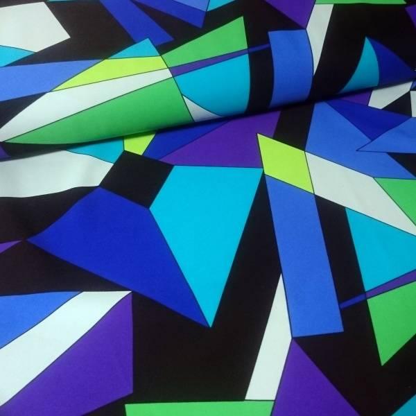 Bilde av Sportsstretch Lycra Neon - blå-grønn 5 cm grafisk mønster