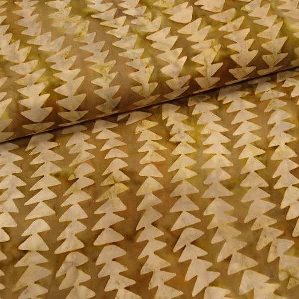 Bilde av Poplin - Trekantet mønster, 3 cm hvit på brun-gul bakgrunn