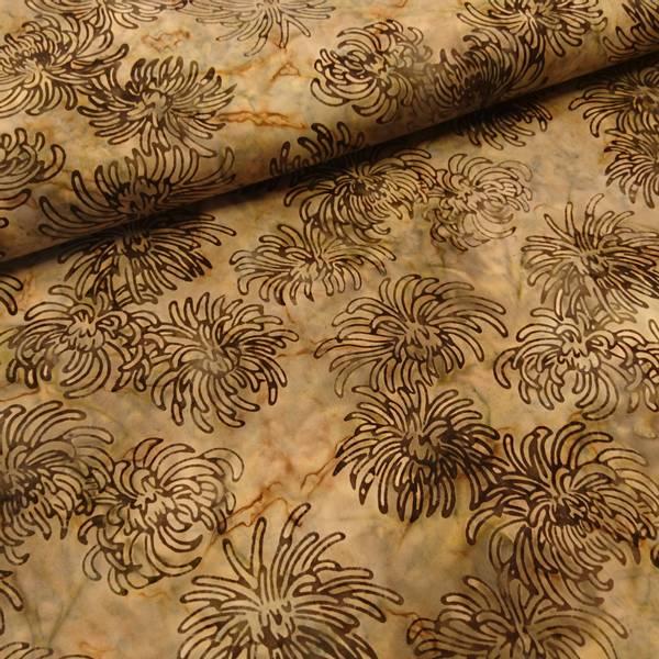 Bilde av Poplin - Blomster, 7-9 cm mørkebrun på lys brun bakgrunn