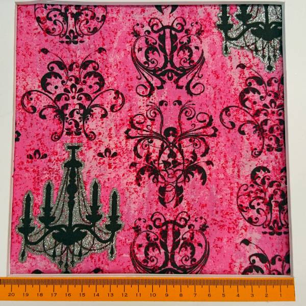 Bilde av Urban angel - Pink-sort med sølvtrykk chandelier - 7-10 cm