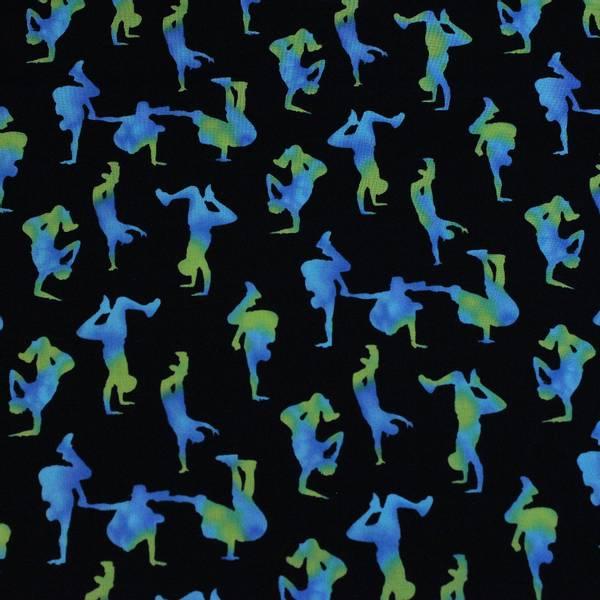 Bilde av Blå-grønne ca 5 cm store breakdance figurer på sort