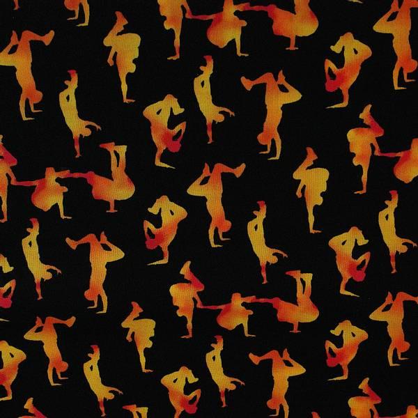 Bilde av Rød-gule ca 5 cm store breakdance figurer på sort