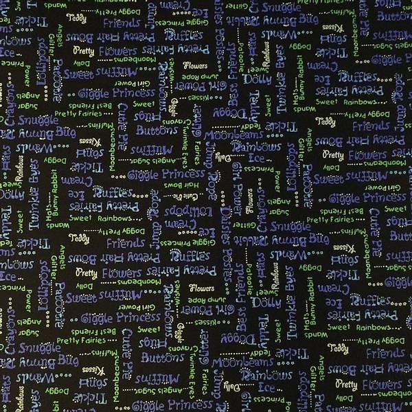 Bilde av Tekst - 1 cm høy - i blått og grønt på svart bakgrunn