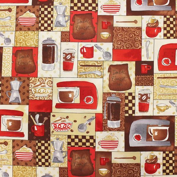 Bilde av Kaffe og tilbehør i rødt, grått, brunt og beige på 4-8 cm firkan