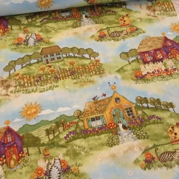 Bilde av Flerfargete gård & katter i landskap, ca 20 cm store motiver