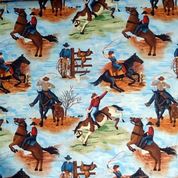 Bilde av Cowboy/Cowgirl på hest, ca 15 cm, på landskap